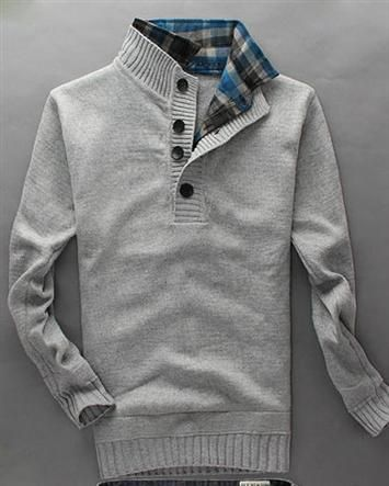 Casual Solid Open Turn-down Collar Long Sleeve Woolen Pullover Men Sweaters