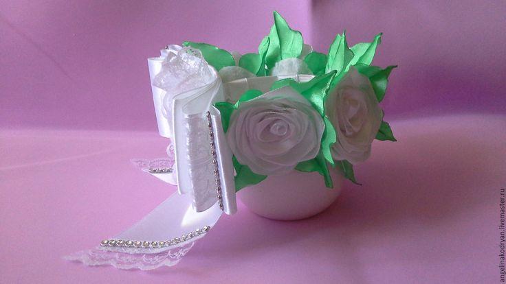 Купить Резинка на пучок( на гульку) из роз к школе ,к 1 сентября - белый, резинка на пучок