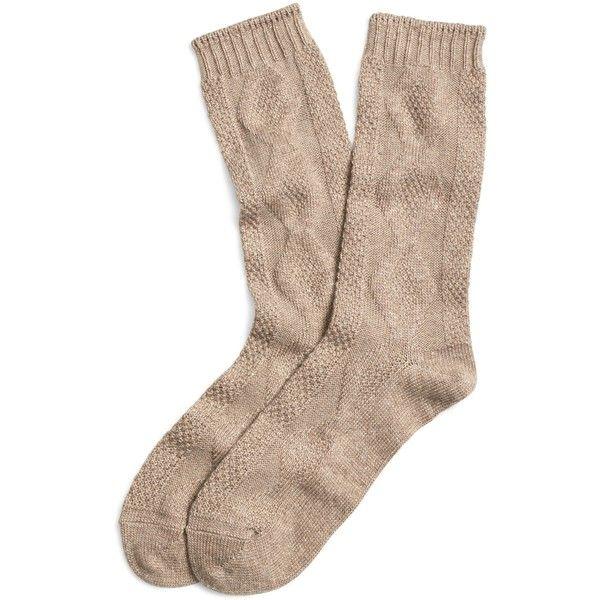 Brooks Brothers Cashmere Blend Crew Socks ($28) ❤ liked on Polyvore featuring intimates, hosiery, socks, beige, brooks brothers, cashmere blend socks, crew socks, cable knit socks and beige socks