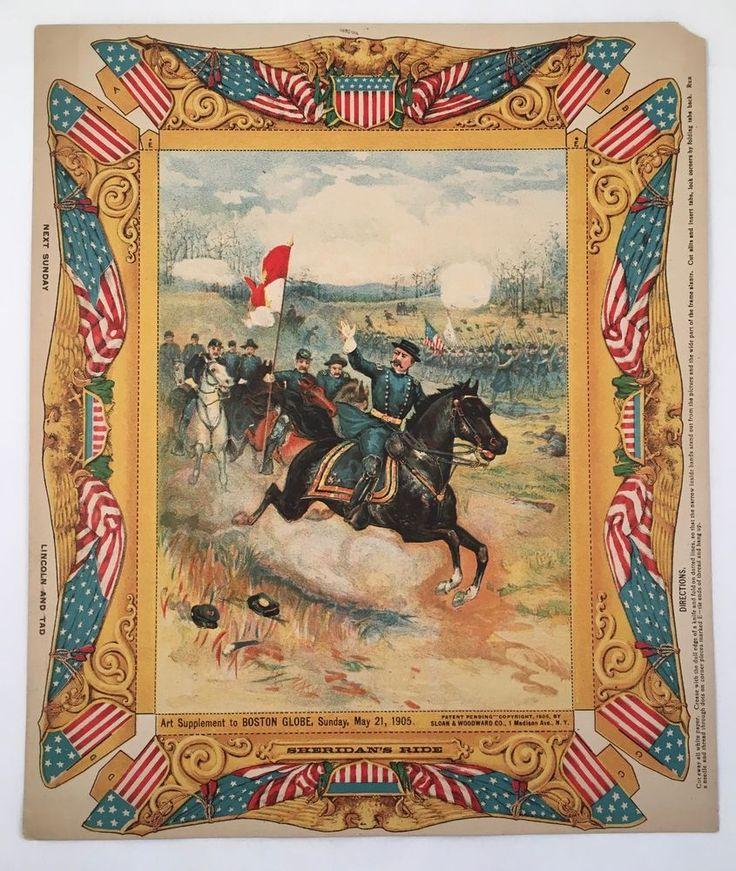 Antique 1905 Sheridan's Ride Civil War Boston Globe Newspaper Print