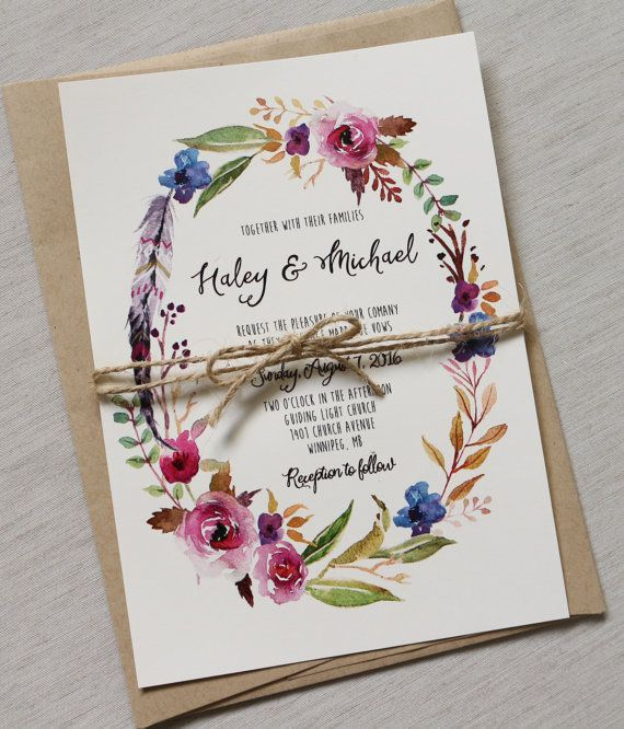 Boho Chic Wedding Invitation, Floral Wedding Invitation, Rustic Wedding  Invitation, Modern Wedding Invitation