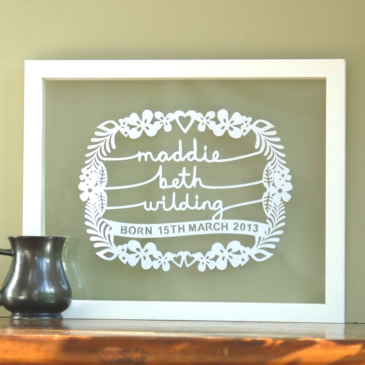 As new born baby gifts go, this original papercut design would be one of the more special and unique.  The design includes the baby's name as well as birth date, all incorporated within this delicate and pretty design.  It celebrates a momentous event in anyone's life - the birth of a baby. It would make a unique gift for a new born baby, baby christening or baptism or perhaps to decorate a nursery.  This design can incorporate a name with the maximum of three names - first name, ...