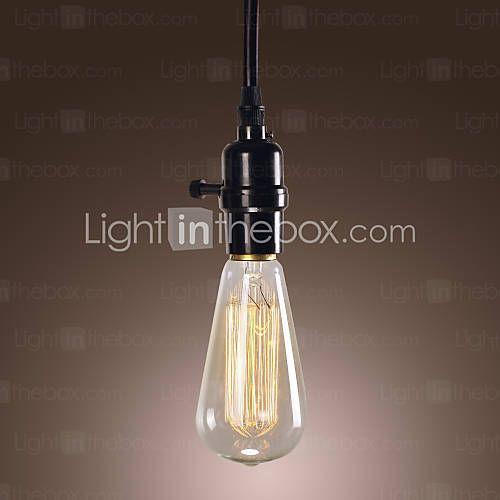 [RUB p. 1 403,88] Минималистский 60W свет подвеска с черным провод сплетенные цепи и пластиковый держатель света