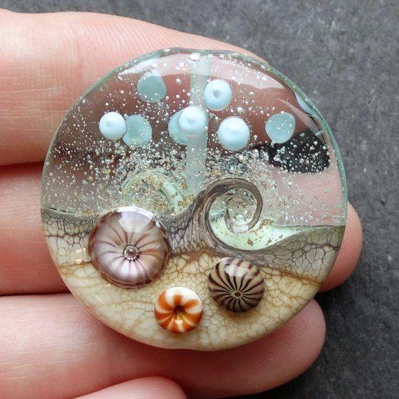 Lampwork Glass Bead 051 Focal 1 Ocean Waves Sea by beadgoodies