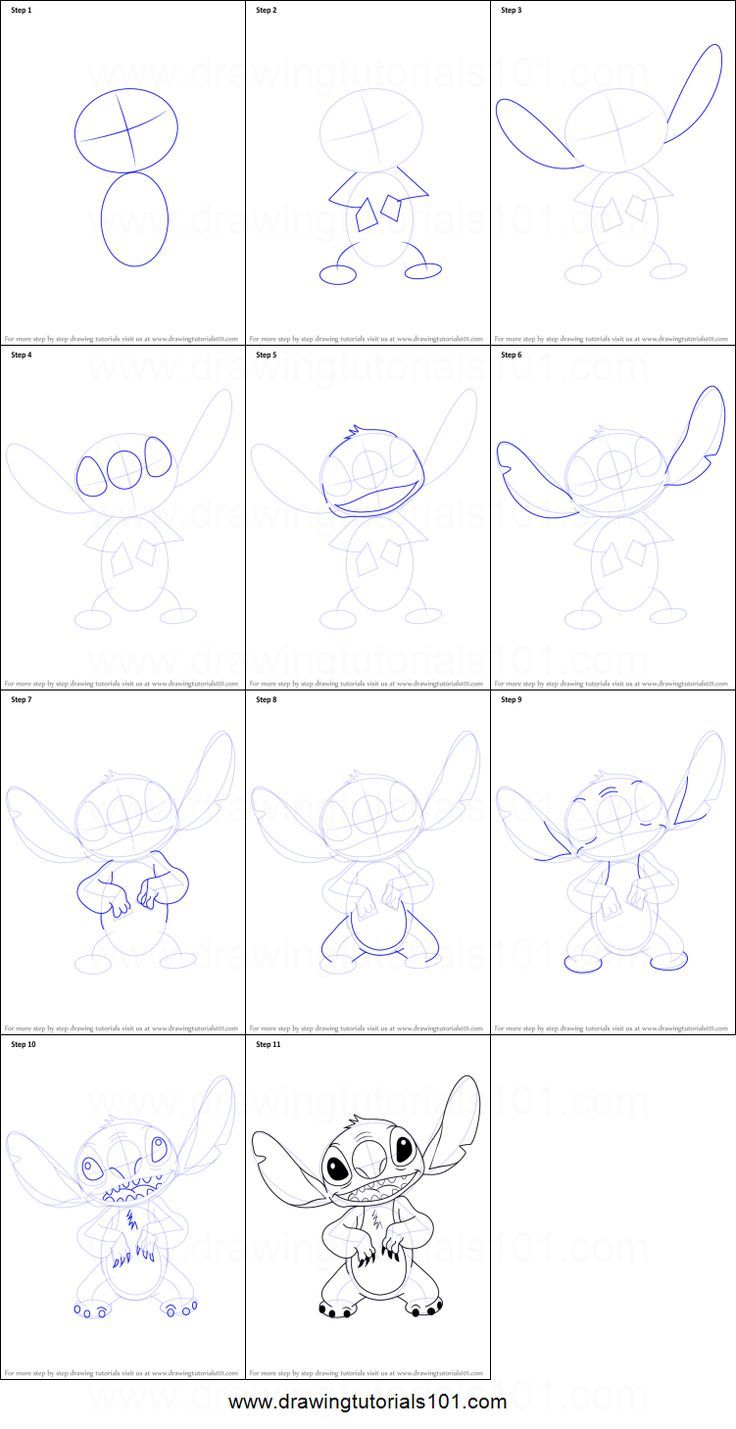 How To Draw Stitch From Lilo And Stitch Printable Step By