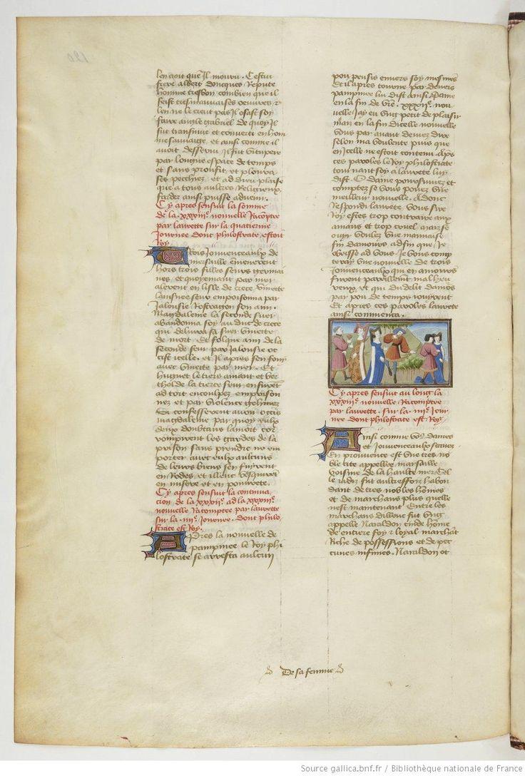 « Livre appelé Decameron , aultrement surnommé le Prince Galeot », de « JEHAN BOCCACE »,  traduction exécutée sur une traduction latine par « LAURENT DE PREMIERFAIT »
