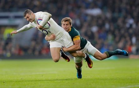 Jonny May tackled by Pat Lambie during the England v South Africa autumn international rugby union match at Twickenham Stadium