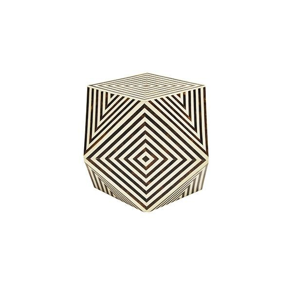 SELMA BR - GEOMETRIC BROWN AND WHITE BONE SIDE TABLE