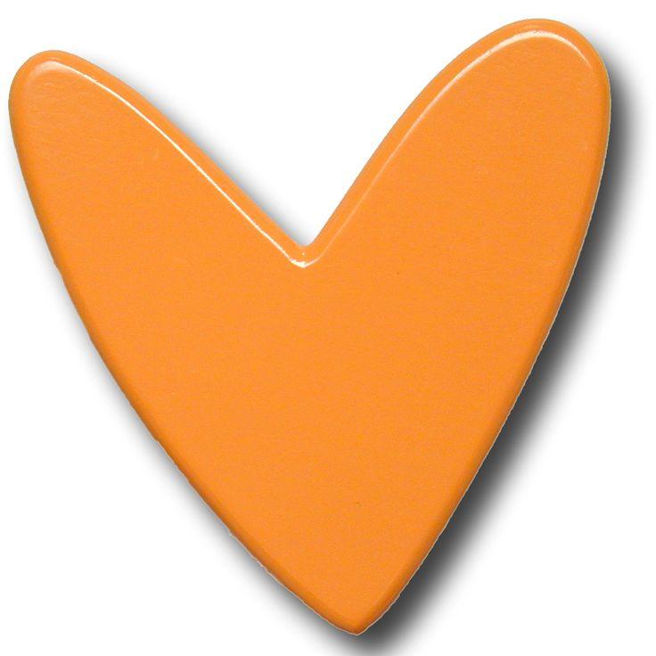 Modern Heart Orange Drawer Pull - RosenberryRooms.com