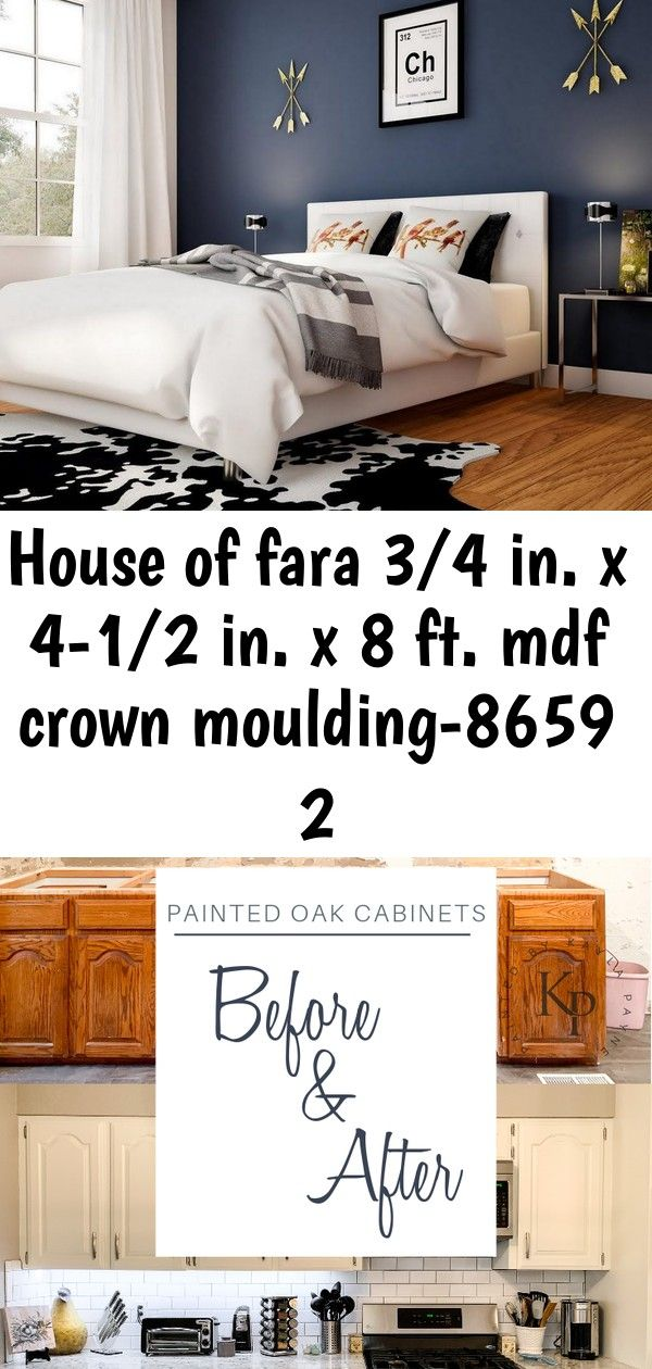 House Of Fara 3 4 In X 4 1 2 In X 8 Ft Mdf Crown Moulding 8659 The Home Depot Kitchen Cabinet With Images Black Walls Bedroom Accent Wall Bedroom Home Depot Kitchen