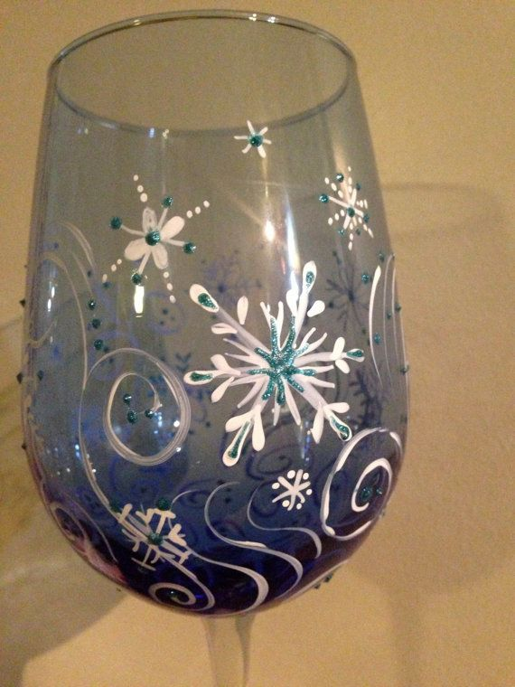 swirling snowflakes wine glass hand painted by personallypainted