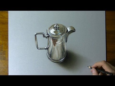 ▶ Drawing Time Lapse: silver pitcher - hyperrealistic art (I love hyperrealistic art, check out Marcello Barenghi's youtube channel!)