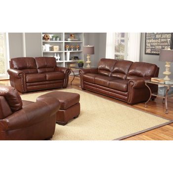 Costco 39 S Manchester 4 Piece Top Grain Leather Set For 2800 Living Room