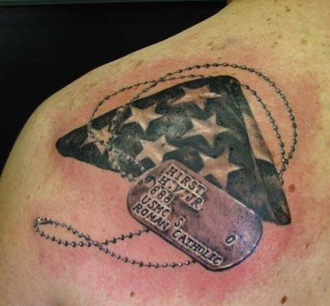Back tattoo military tattoo a tattoo tattoo design dogs tags