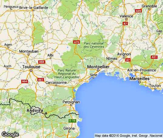 Languedoc-Roussillon, South of France on the  map
