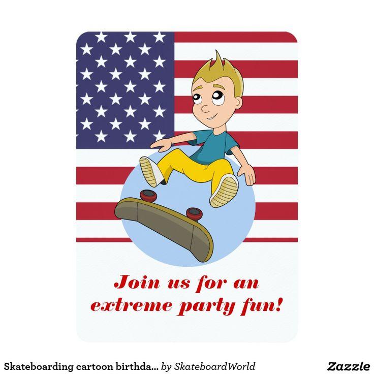Skateboarding cartoon birthday print invitations
