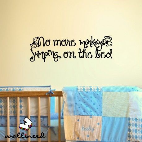 No More Monkeys Jumping On The Bed Wall Decal Nursery Decor