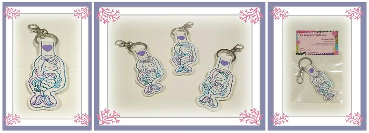 Mermaid key fob/ bag tag.  Design by:  Sevens Emporium