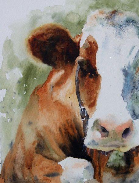 Online Bovine. Watercolour 40cm x 30cm Nigel Short