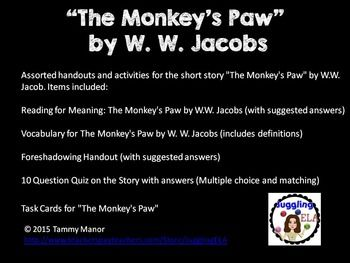 the gothic themes in the monkeys paw a short story by w w jacobs Presentation includes facts on ww jacobs,  the monkey's paw powerpoint preview  teaching more short stories check out my short story.