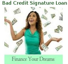 Online Personal Signature Loans with Bad Credit offers immediate solution in financial crisis. Only the signature of borrower is required to take the loan.