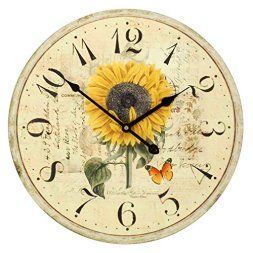 Yellow is a sporty fun and playful color which is why I love yellow home wall art décor. Yellow wall art is the epitome of lively and bold. Yellow is a happy color and therefore great for decorative accents. Yellow decorative accents look amazing in any room. #yellow #yellowdecor   Large Decorative Wall Clock ,RELIAN 16 Inch Silent Non Ticking Vintage Wall Clocks for Room Decor Sunflower
