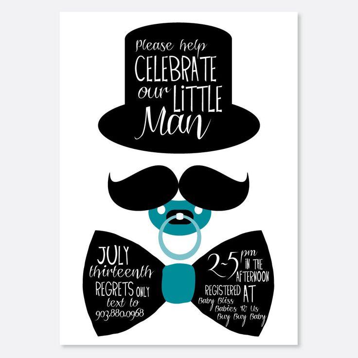 Gentleman Shower/Birthday Invitation, Boy Baby Shower, Fancy Baby Shower Invitation, Mustache Invitation, Bow tie Invitation by uluckygirl on Etsy https://www.etsy.com/listing/165159761/gentleman-showerbirthday-invitation-boy