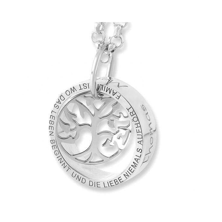Eine schöne, personalisierte Kette aus 925 Sterling Silber. An der Kette hängt ein Anhänger Ring mit Ihrer gewünschten Gravur. In den Ring wurde ein Lebensbaum rein designed.