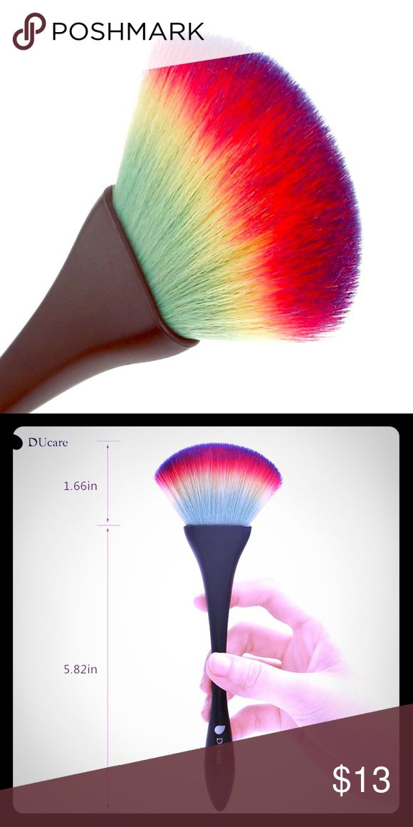 🌈Rainbow Fan Brush🌈 See second pic for dimensions. I use mine and love it =) Hot Topic Makeup Brushes & Tools