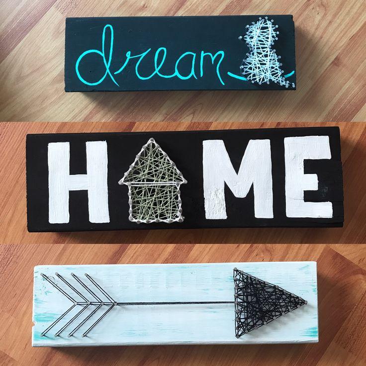 Wood signs. Signs. DIY. String art. Hand painted. Arrow. Dream. Bird. Home. House. Home decor. Decor.
