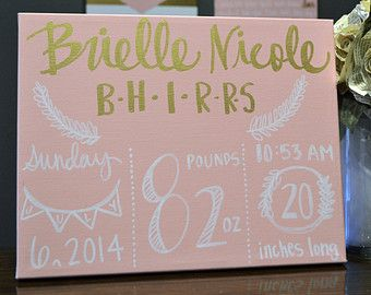 Birth Announcement Canvas Birth Stats Painting New Baby Girl Nursery Decor Pink & Gold Nursery Wall Art Canvas Painting Personalized Custom