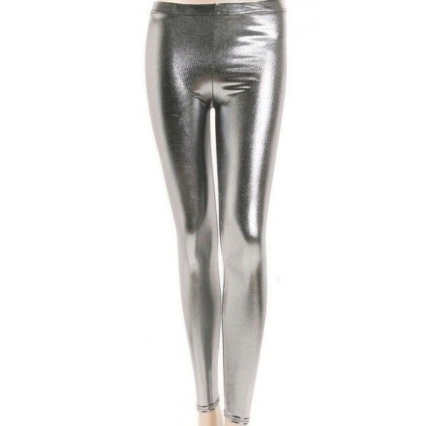 Glimmende PU Leder Legging Zilver ❤ liked on Polyvore featuring pants, leggings, white pants, white trousers, legging pants, pu leggings and white leggings