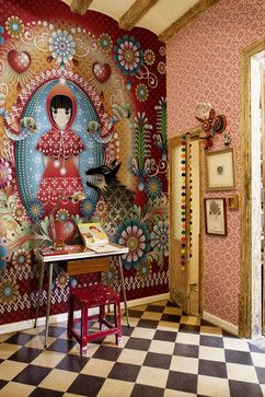 Wallpaper Design Ideas, Pictures, Remodel, and Decor - page 37... this makes in inner artist in me want to throw the conservative me out the window! I wish my girls were little to do a room like this!