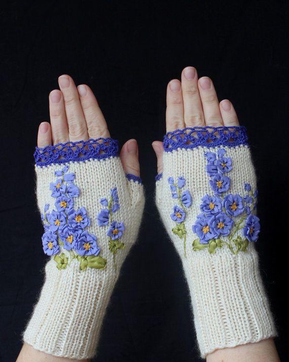 Hand Knitted Fingerless Gloves, Gloves & Mittens, Gift ...