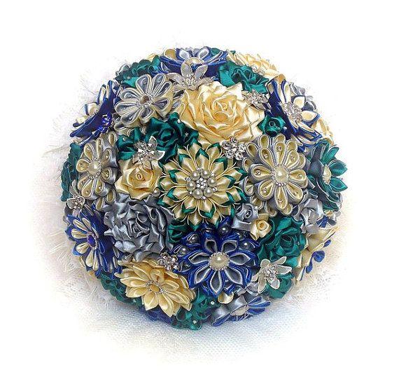 Букет невесты, ручной работы, цвет слоновой кости / синий / бирюзовый / изумруд