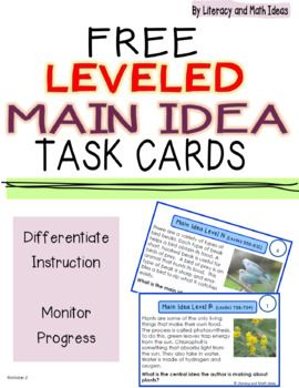 (Free) Leveled Main Idea Task Cards (Lexile and Guided Reading Leveled)