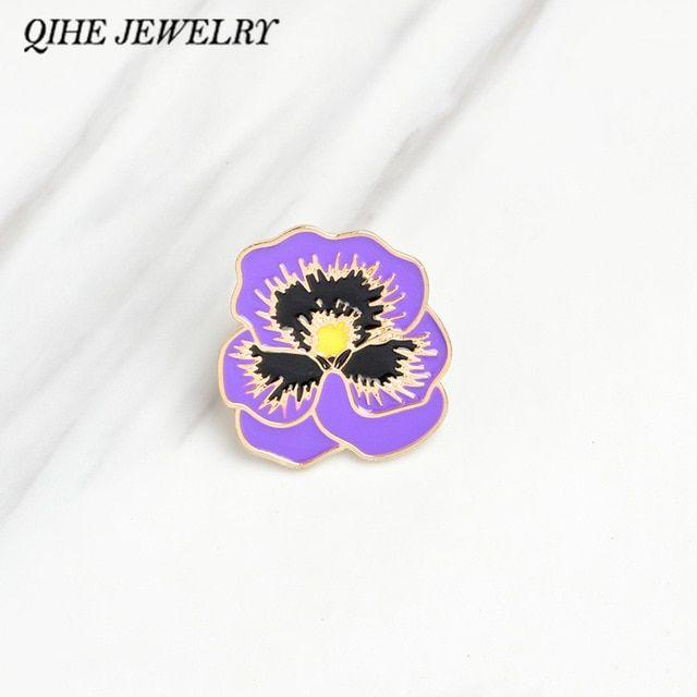 QIHE JEWELRY Brooches & pins Purple Poppy Flower Women jewelry lapel