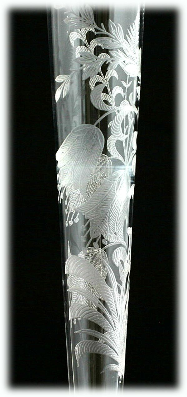 Etched Crystal Patterns Of 1930 S 1940 S Tiffin Fuchsia Vintage Etched Crystal Bud Vase