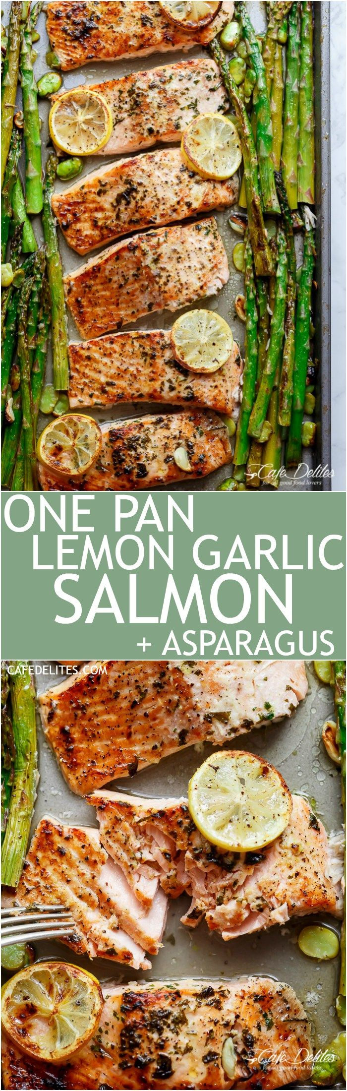 Lemon, garlic and parsley are infused in One Pan Lemon Garlic Baked Salmon + Asparagus ready in only 10 minutes without any marinading! | http://cafedelites.stfi.re