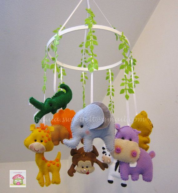 Safari hanging crib mobile by MySweetfelt on Etsy