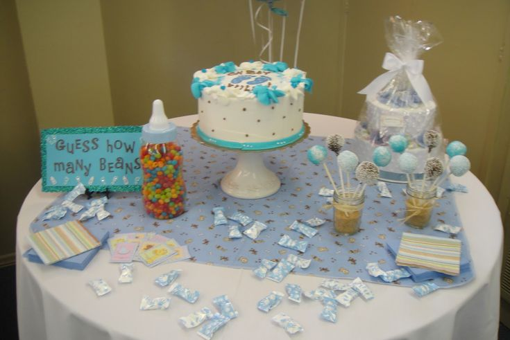 Baby shower table decorations health and fitness for Baby boy cake decoration