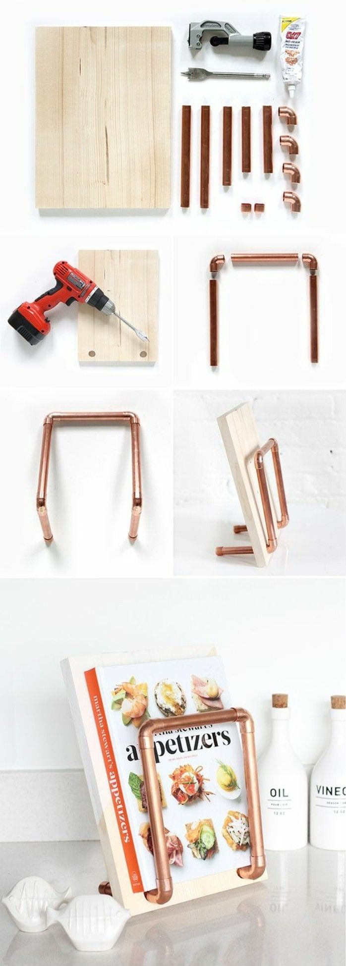 un support de tube cuivre pour votre livre de cuisine le plus cher au coeur