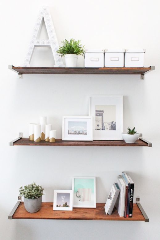 DIY distressed wooden shelves by Sugar & Cloth