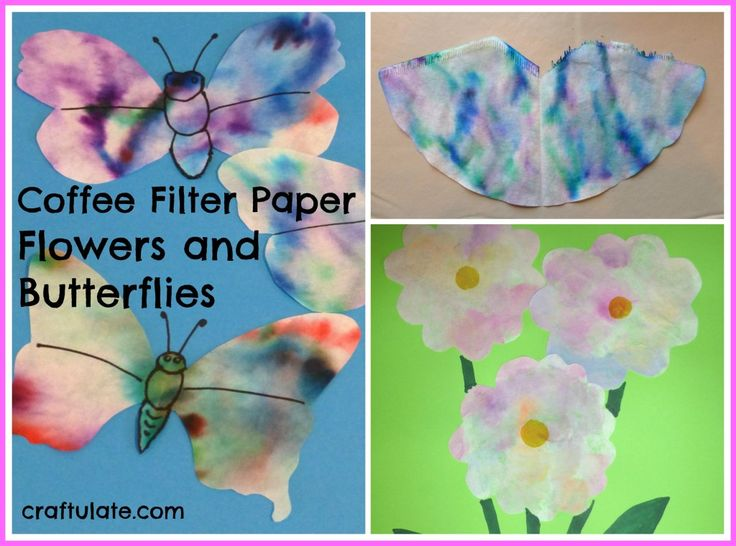 Coffee Filter Paper Flowers and Butterflies