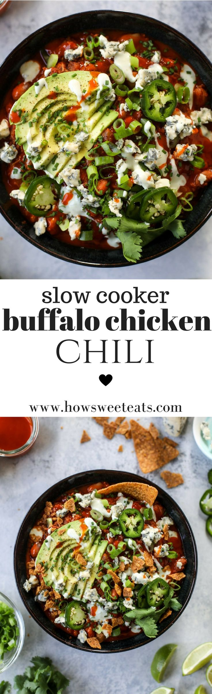 Slow Cooker Buffalo Chicken Chili I @howsweeteats