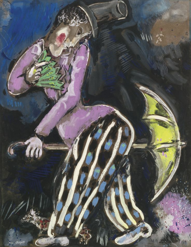 Marc Chagall 1887 - 1985 L'HOMME AU PARAPLUIE Signed Marc Chagall (lower left) Gouache on paper 26 by 20 in. 66.3 by 51 cm Executed in 1927-28.: