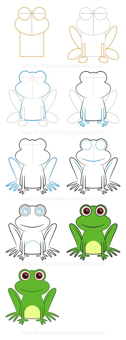 Step-by-step drawing lessons | Drawing lessons, Frog ...