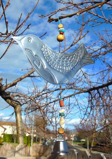 Kathy's AngelNik Designs & Art Project Ideas: Embossed Foil Bird Wind Spinner