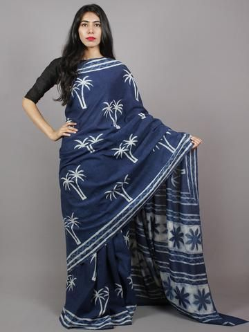 Indigo Blue White Hand Block Printed in Natural Colors Cotton Mul Saree - S031701340