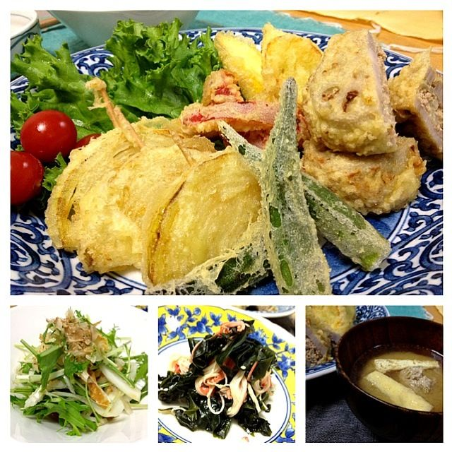 今日は冷蔵庫にあるもので天ぷら。赤色が欲しかったのでパプリカも天ぷらに、美味しいね( - 126件のもぐもぐ - 天ぷら、蓮根のはさみ揚げ、玉ねぎ、オクラ、ズッキーニ、パプリカ。新玉ねぎと水菜、竹輪の麺つゆ和え。カニカマとワカメの酢の物。味噌汁。 by keiko